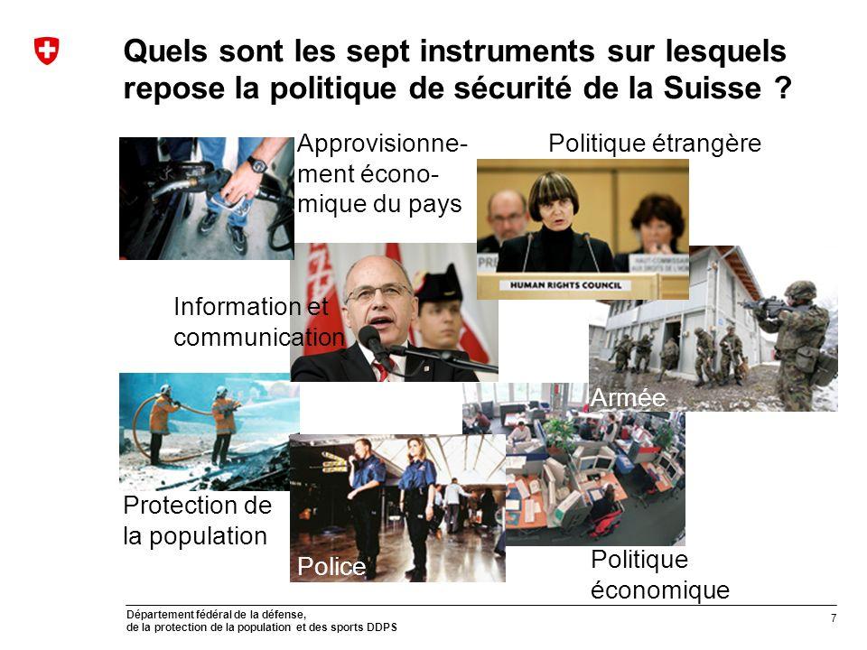 Département fédéral de la défense, de la protection de la population et des sports DDPS Quels sont les sept instruments sur lesquels repose la politique de sécurité de la Suisse .