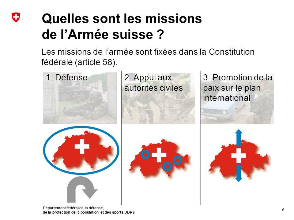 Département fédéral de la défense, de la protection de la population et des sports DDPS Quelles sont les missions de lArmée suisse ? Les missions de l