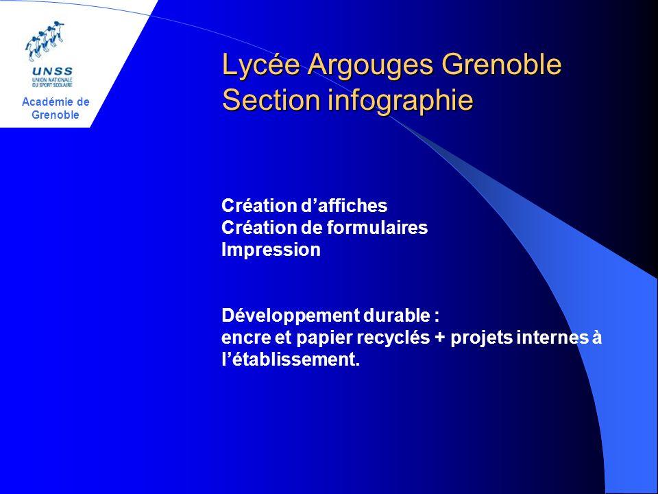 Académie de Grenoble Lycée Argouges Grenoble Section infographie Création daffiches Création de formulaires Impression Développement durable : encre e