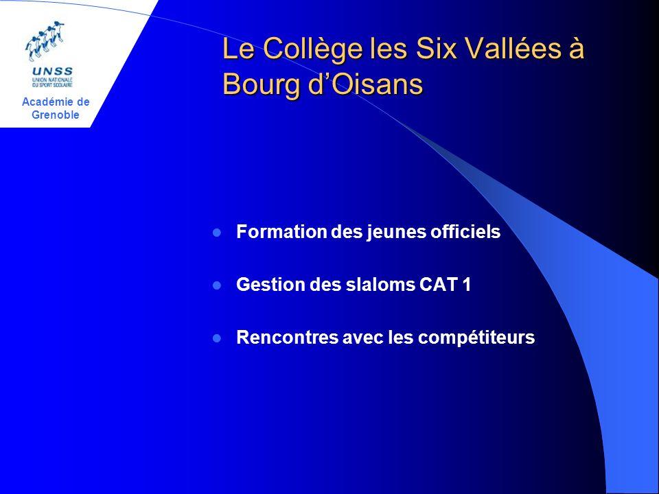 Académie de Grenoble Le Collège les Six Vallées à Bourg dOisans Formation des jeunes officiels Gestion des slaloms CAT 1 Rencontres avec les compétiteurs