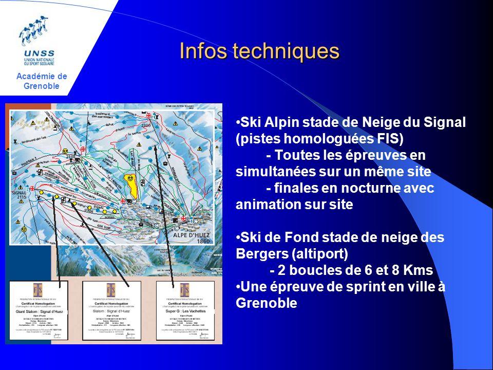 Académie de Grenoble Infos techniques Infos techniques Ski Alpin stade de Neige du Signal (pistes homologuées FIS) - Toutes les épreuves en simultanées sur un même site - finales en nocturne avec animation sur site Ski de Fond stade de neige des Bergers (altiport) - 2 boucles de 6 et 8 Kms Une épreuve de sprint en ville à Grenoble