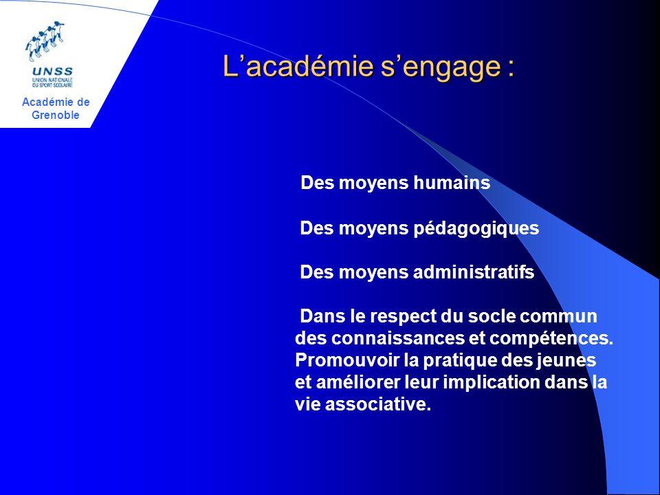 Académie de Grenoble Lacadémie sengage : Des moyens humains Des moyens pédagogiques Des moyens administratifs Dans le respect du socle commun des connaissances et compétences.