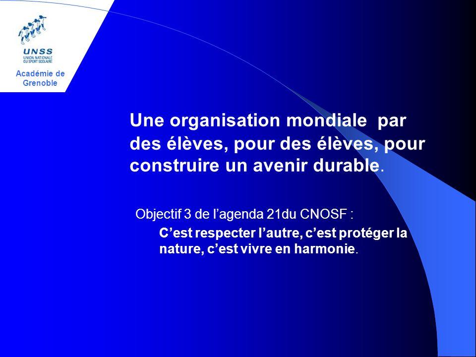 Académie de Grenoble Une organisation mondiale par des élèves, pour des élèves, pour construire un avenir durable. Objectif 3 de lagenda 21du CNOSF :