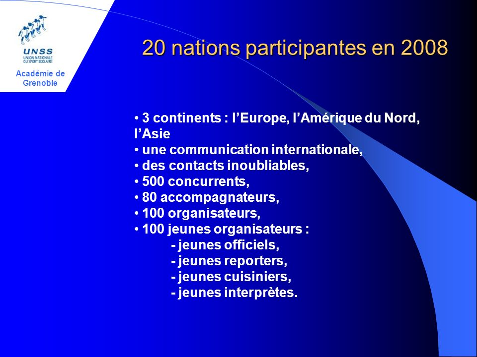 Académie de Grenoble 20 nations participantes en 2008 3 continents : lEurope, lAmérique du Nord, lAsie une communication internationale, des contacts