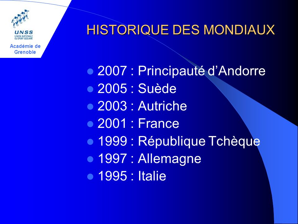 Académie de Grenoble HISTORIQUE DES MONDIAUX 2007 : Principauté dAndorre 2005 : Suède 2003 : Autriche 2001 : France 1999 : République Tchèque 1997 : A