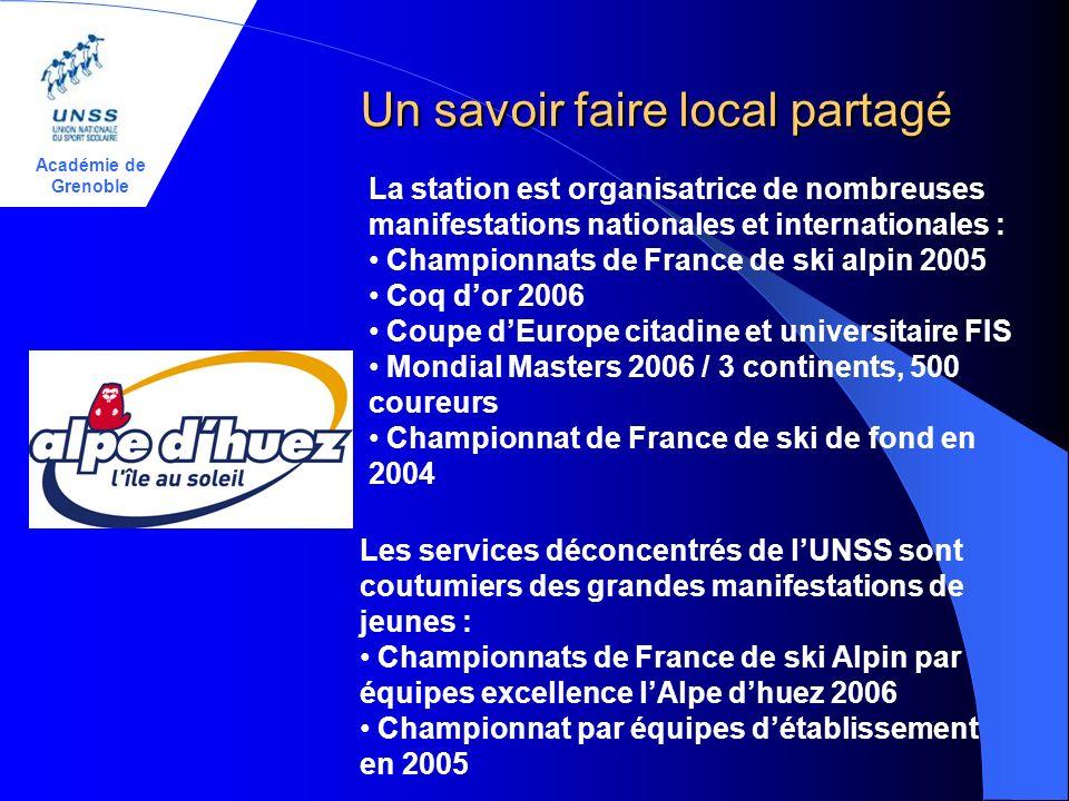 Académie de Grenoble Un savoir faire local partagé La station est organisatrice de nombreuses manifestations nationales et internationales : Championn