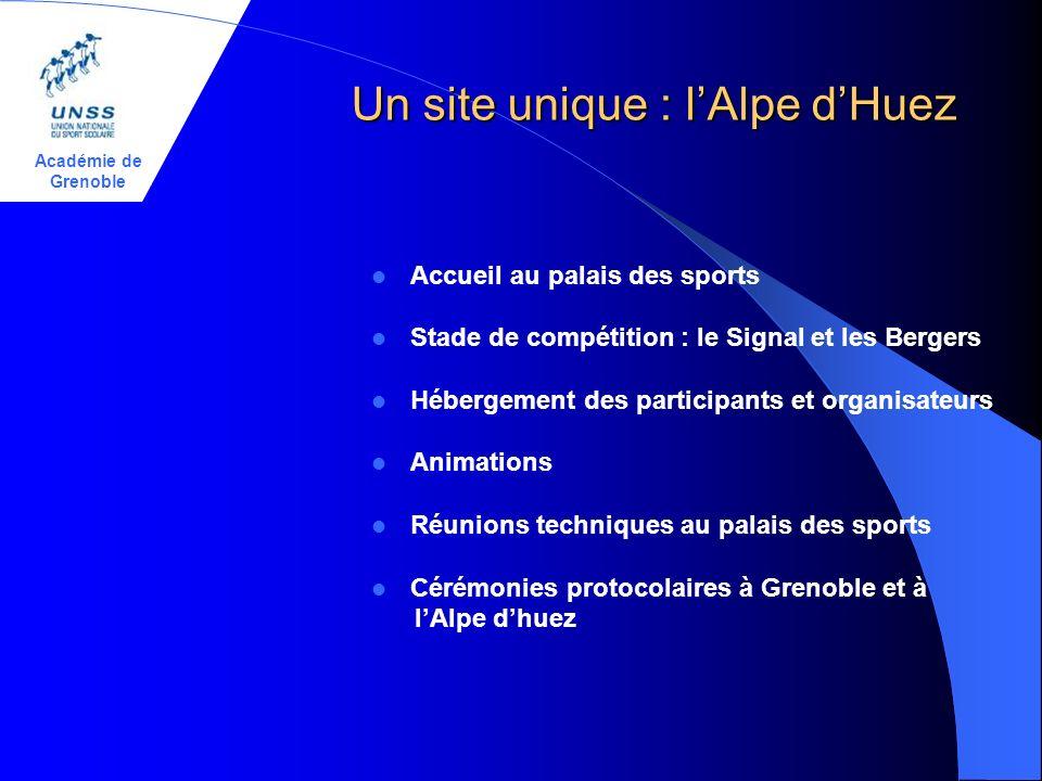 Académie de Grenoble Un site unique : lAlpe dHuez Accueil au palais des sports Stade de compétition : le Signal et les Bergers Hébergement des partici