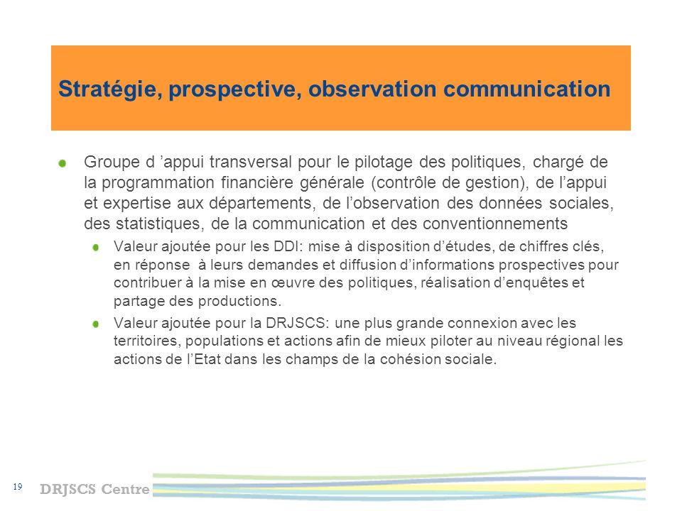 DRJSCS Centre 20 Valeur ajoutée de la nouvelle organisation Mutualisation des compétences et des moyens au service de la cohésion sociale Concentration des dispositifs et leviers daction à destination des politiques prioritaires (ex.