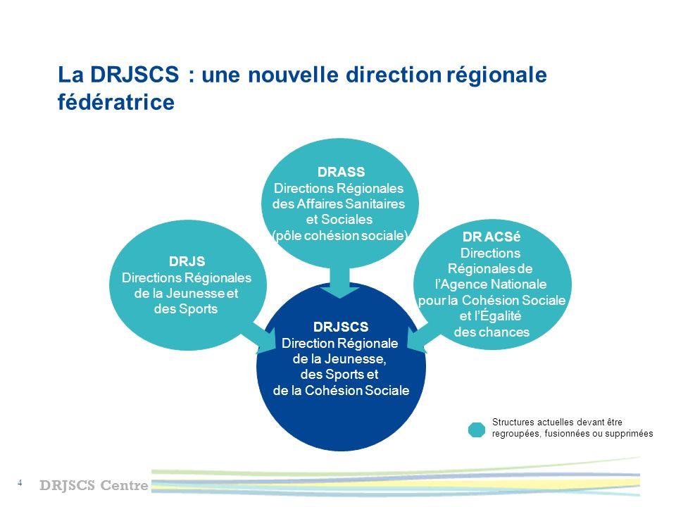 DRJSCS Centre 5 La RGPP en région Centre dans le champ de la cohésion sociale Préfet de région DRJSCS Préfets de département DDCS DDCSPP Indre-et-Loire Loiret Indre Eure-et-Loir Loir-et-Cher Cher