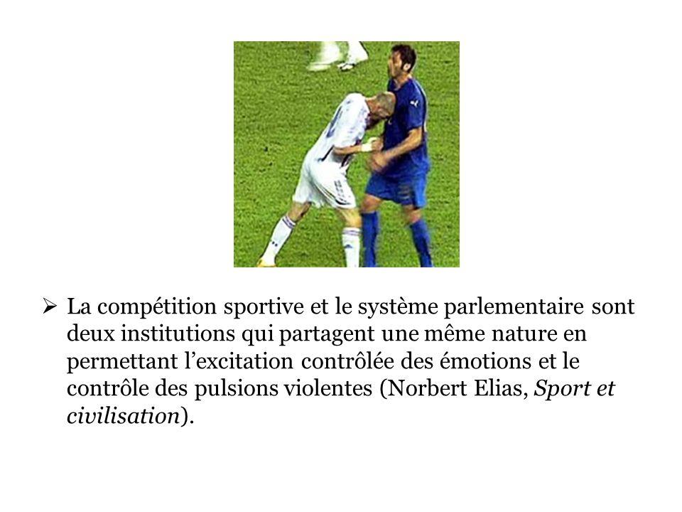 La compétition sportive et le système parlementaire sont deux institutions qui partagent une même nature en permettant lexcitation contrôlée des émotions et le contrôle des pulsions violentes (Norbert Elias, Sport et civilisation).