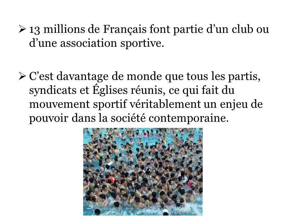 13 millions de Français font partie dun club ou dune association sportive.