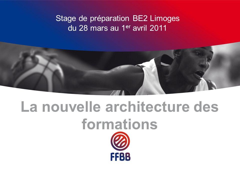 Actuellement Larchitecture des formations date de 1998 dans sa forme actuelle avec comme ajout: le DPPB en 2003 le DEPB en 2007 BPJEPS mention Basket en 2007 La suppression de lentraîneur « juniors » en 2007
