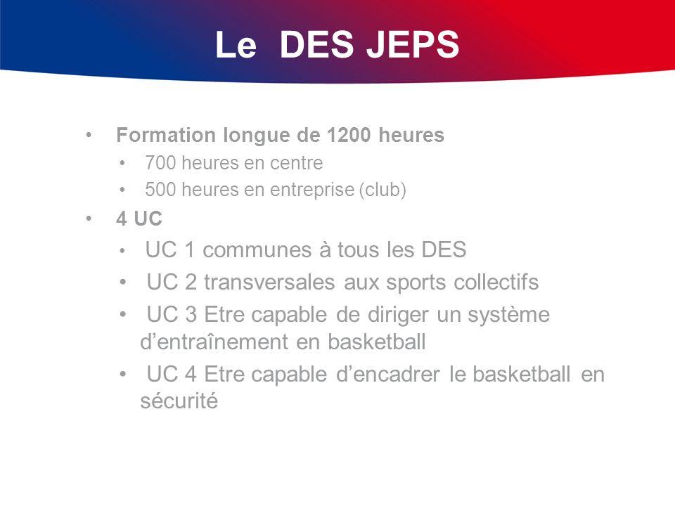 Le DES JEPS Formation longue de 1200 heures 700 heures en centre 500 heures en entreprise (club) 4 UC UC 1 communes à tous les DES UC 2 transversales