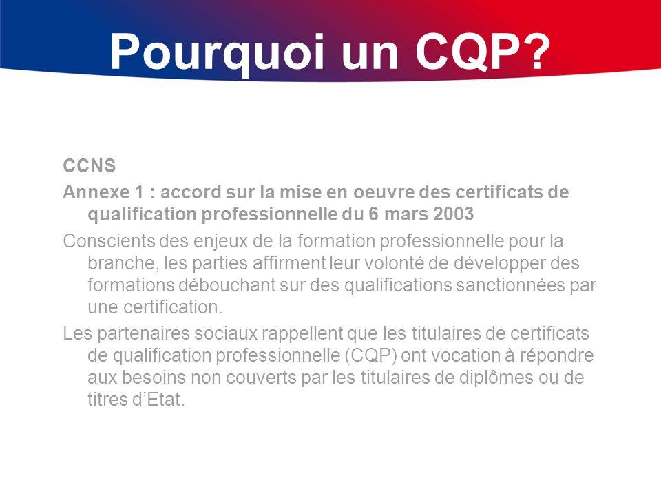 Pourquoi un CQP? CCNS Annexe 1 : accord sur la mise en oeuvre des certificats de qualification professionnelle du 6 mars 2003 Conscients des enjeux de