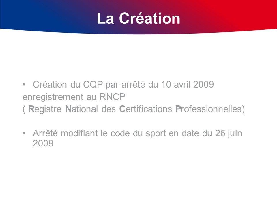 La Création Création du CQP par arrêté du 10 avril 2009 enregistrement au RNCP ( Registre National des Certifications Professionnelles) Arrêté modifia