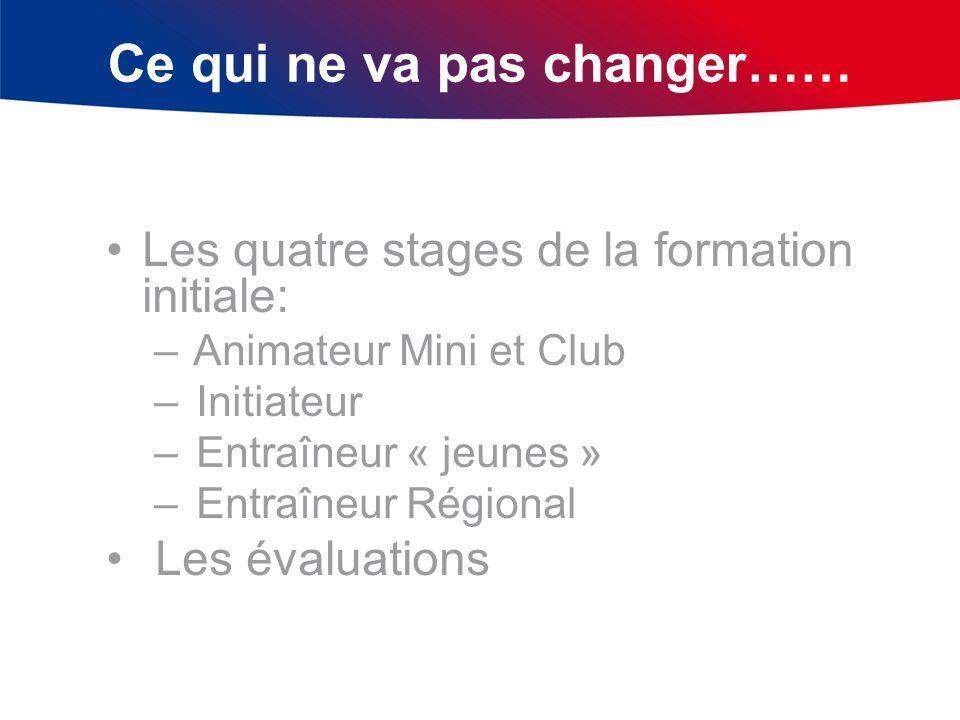 Ce qui ne va pas changer…… Les quatre stages de la formation initiale: – Animateur Mini et Club – Initiateur – Entraîneur « jeunes » – Entraîneur Régi
