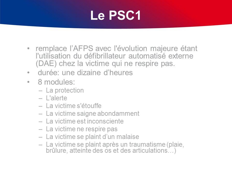 Le PSC1 remplace lAFPS avec l'évolution majeure étant l'utilisation du défibrillateur automatisé externe (DAE) chez la victime qui ne respire pas. dur