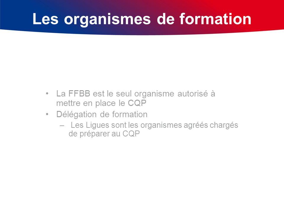 Les organismes de formation La FFBB est le seul organisme autorisé à mettre en place le CQP Délégation de formation – Les Ligues sont les organismes a