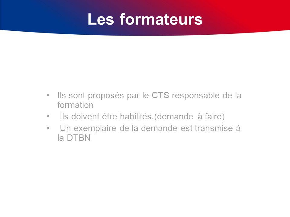 Les formateurs Ils sont proposés par le CTS responsable de la formation Ils doivent être habilités.(demande à faire) Un exemplaire de la demande est t