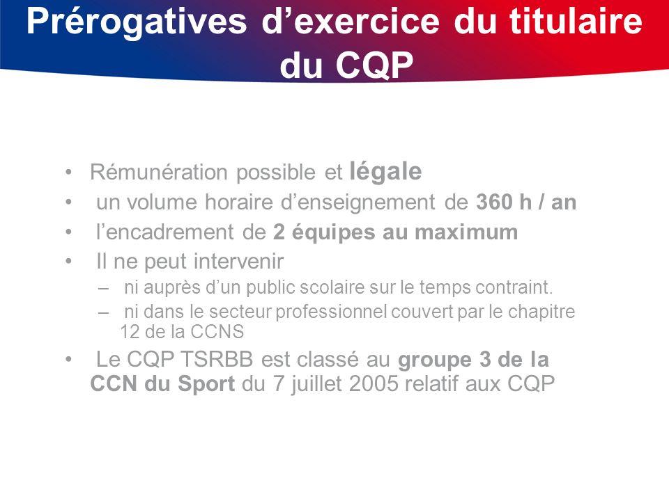 Prérogatives dexercice du titulaire du CQP Rémunération possible et légale un volume horaire denseignement de 360 h / an lencadrement de 2 équipes au