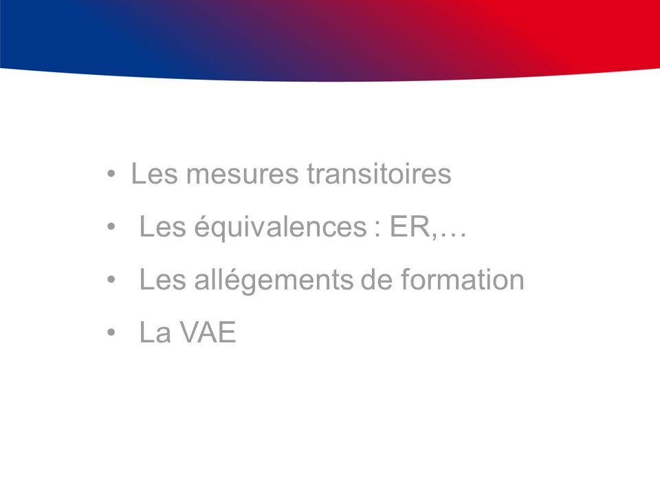 Les mesures transitoires Les équivalences : ER,… Les allégements de formation La VAE