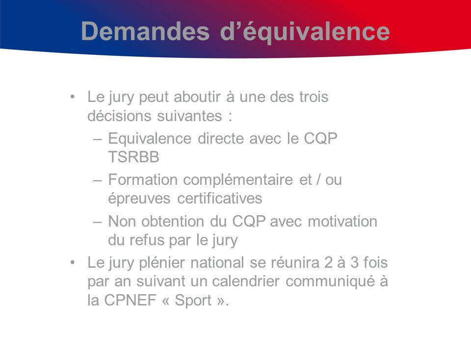 Demandes déquivalence Le jury peut aboutir à une des trois décisions suivantes : –Equivalence directe avec le CQP TSRBB –Formation complémentaire et /
