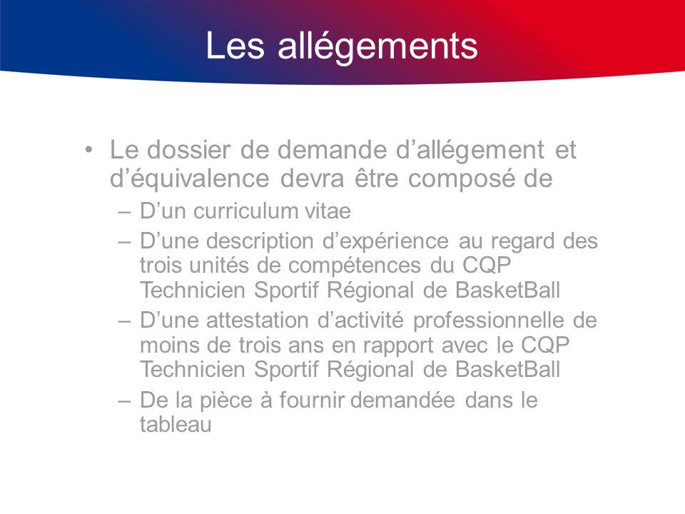 Les allégements Le dossier de demande dallégement et déquivalence devra être composé de –Dun curriculum vitae –Dune description dexpérience au regard