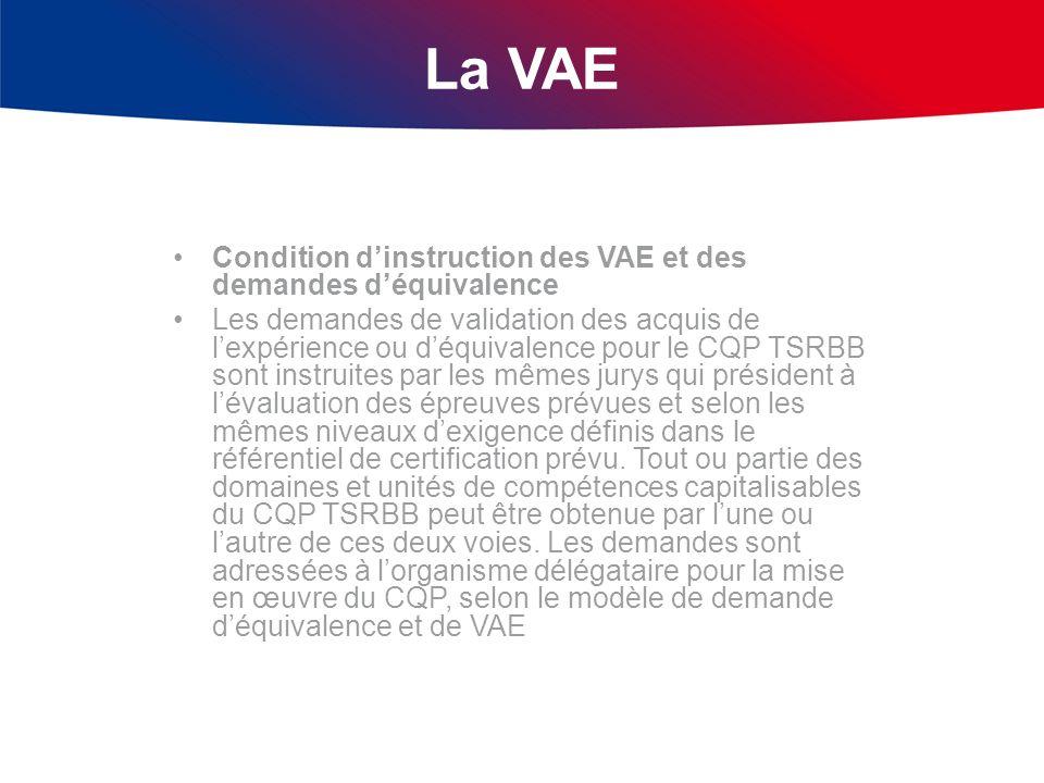 La VAE Condition dinstruction des VAE et des demandes déquivalence Les demandes de validation des acquis de lexpérience ou déquivalence pour le CQP TS