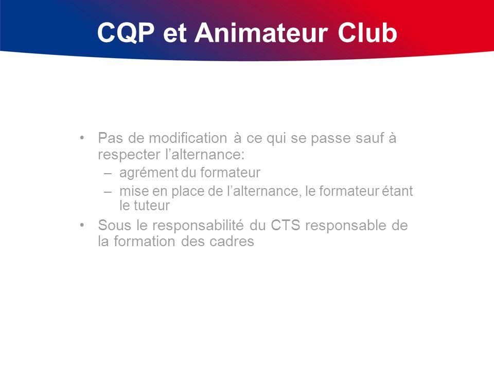 CQP et Animateur Club Pas de modification à ce qui se passe sauf à respecter lalternance: –agrément du formateur –mise en place de lalternance, le for