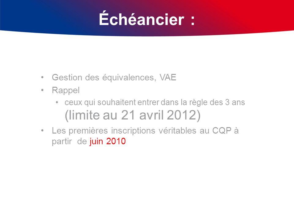 Échéancier : Gestion des équivalences, VAE Rappel ceux qui souhaitent entrer dans la règle des 3 ans (limite au 21 avril 2012) Les premières inscripti