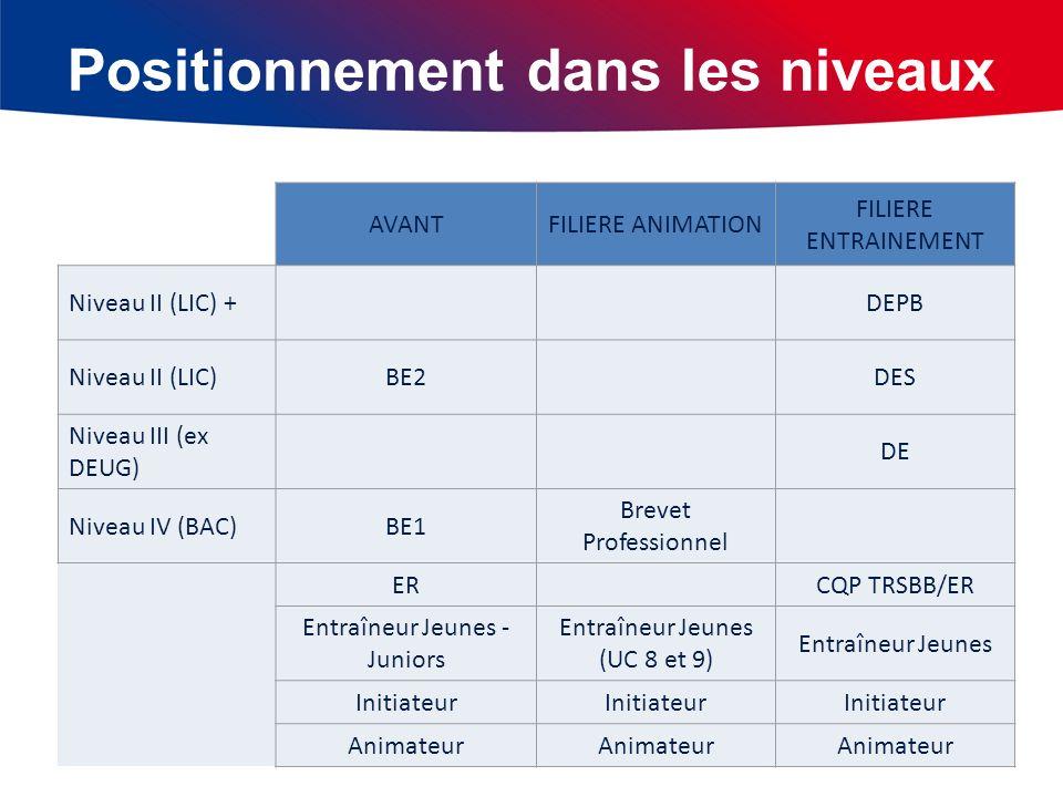 Positionnement dans les niveaux AVANTFILIERE ANIMATION FILIERE ENTRAINEMENT Niveau II (LIC) +DEPB Niveau II (LIC)BE2DES Niveau III (ex DEUG) DE Niveau