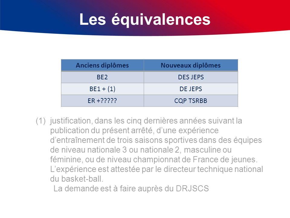 Les équivalences Anciens diplômesNouveaux diplômes BE2DES JEPS BE1 + (1)DE JEPS ER +?????CQP TSRBB (1)justification, dans les cinq dernières années su