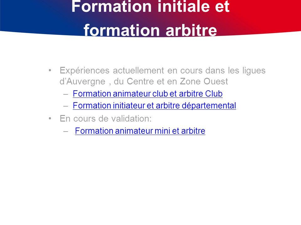 Formation initiale et formation arbitre Expériences actuellement en cours dans les ligues dAuvergne, du Centre et en Zone Ouest –Formation animateur c