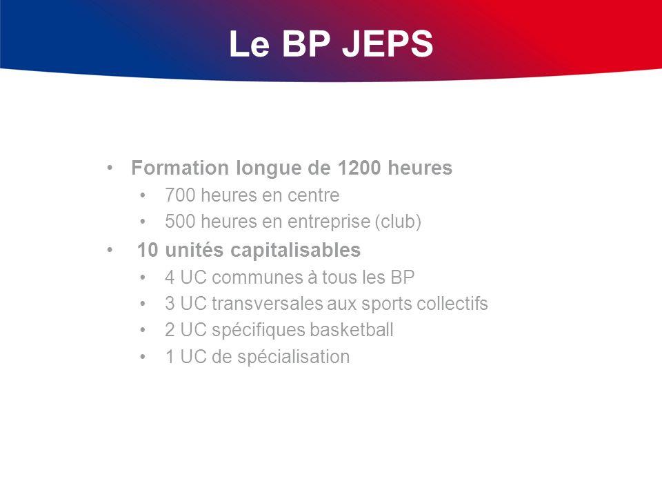 Le BP JEPS Formation longue de 1200 heures 700 heures en centre 500 heures en entreprise (club) 10 unités capitalisables 4 UC communes à tous les BP 3