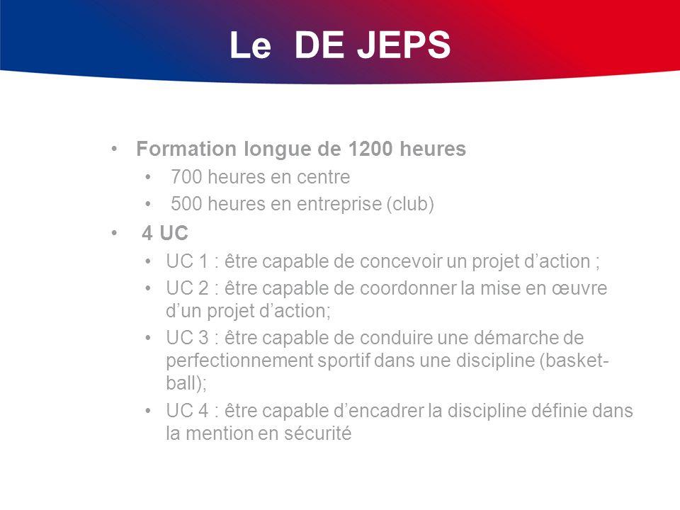 Le DE JEPS Formation longue de 1200 heures 700 heures en centre 500 heures en entreprise (club) 4 UC UC 1 : être capable de concevoir un projet dactio