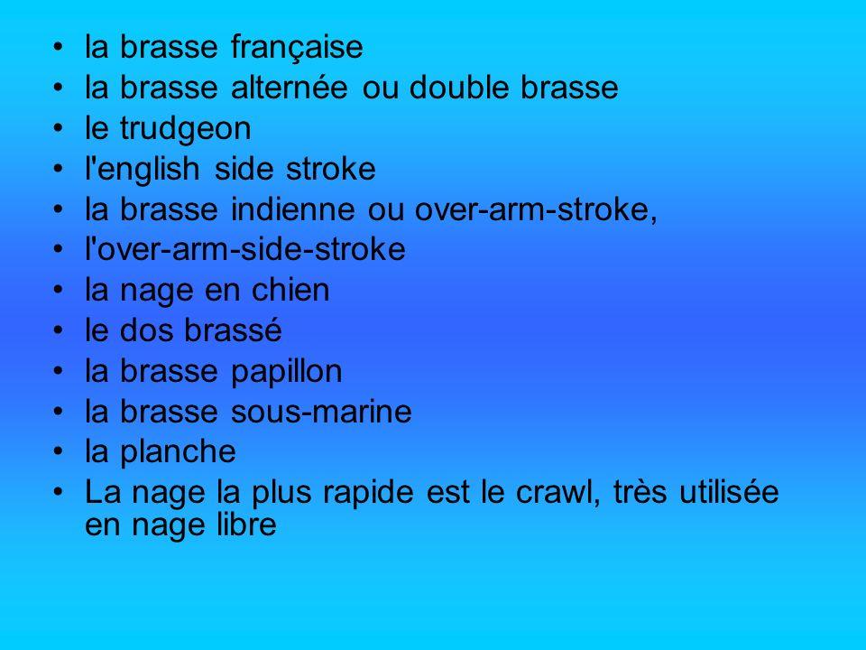 la brasse française la brasse alternée ou double brasse le trudgeon l'english side stroke la brasse indienne ou over-arm-stroke, l'over-arm-side-strok
