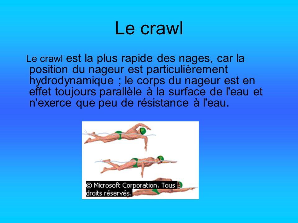 Le crawl Le crawl est la plus rapide des nages, car la position du nageur est particulièrement hydrodynamique ; le corps du nageur est en effet toujou