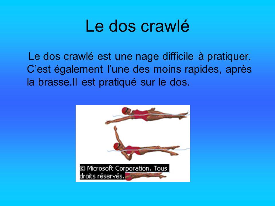 Le dos crawlé Le dos crawlé est une nage difficile à pratiquer. Cest également lune des moins rapides, après la brasse.Il est pratiqué sur le dos.