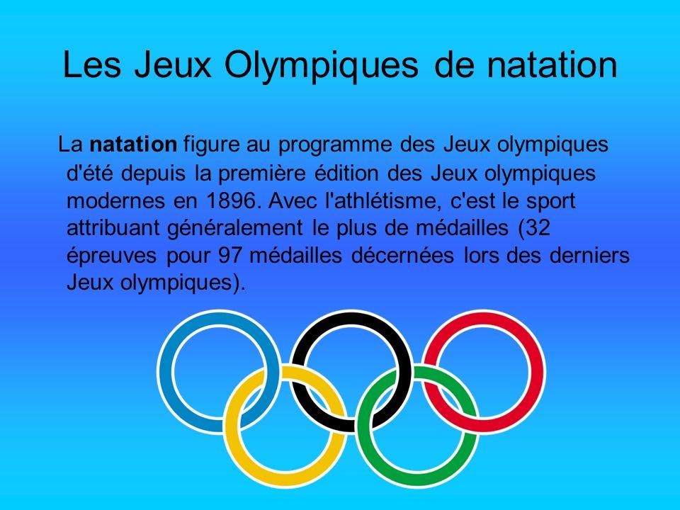 Les Jeux Olympiques de natation La natation figure au programme des Jeux olympiques d'été depuis la première édition des Jeux olympiques modernes en 1