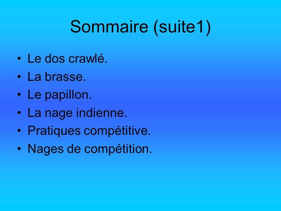 Sommaire (suite1) Le dos crawlé. La brasse. Le papillon. La nage indienne. Pratiques compétitive. Nages de compétition.
