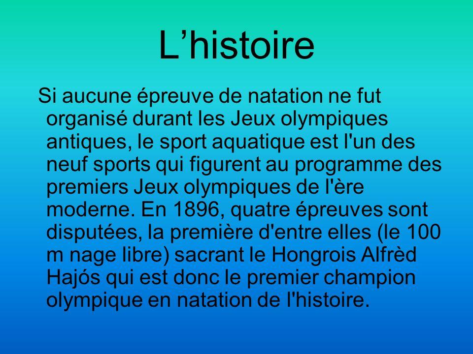Lhistoire Si aucune épreuve de natation ne fut organisé durant les Jeux olympiques antiques, le sport aquatique est l'un des neuf sports qui figurent