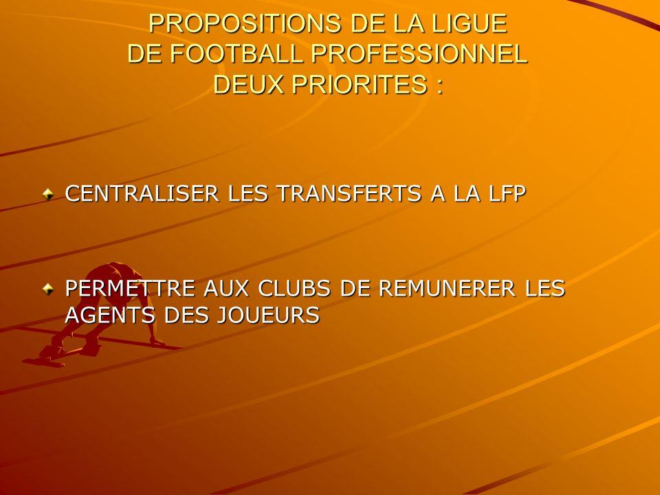 PROPOSITIONS DE LA LIGUE DE FOOTBALL PROFESSIONNEL DEUX PRIORITES : CENTRALISER LES TRANSFERTS A LA LFP PERMETTRE AUX CLUBS DE REMUNERER LES AGENTS DES JOUEURS