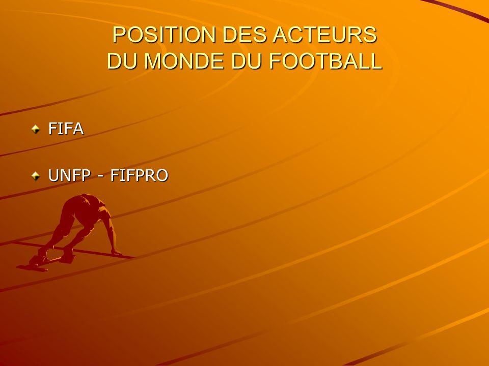 POSITION DES ACTEURS DU MONDE DU FOOTBALL FIFA UNFP - FIFPRO