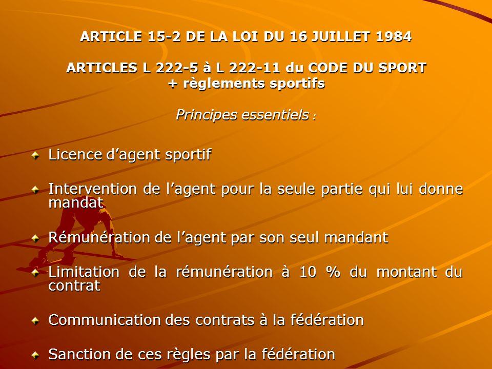 ARTICLE 15-2 DE LA LOI DU 16 JUILLET 1984 ARTICLES L 222-5 à L 222-11 du CODE DU SPORT + règlements sportifs Principes essentiels : Licence dagent sportif Intervention de lagent pour la seule partie qui lui donne mandat Rémunération de lagent par son seul mandant Limitation de la rémunération à 10 % du montant du contrat Communication des contrats à la fédération Sanction de ces règles par la fédération