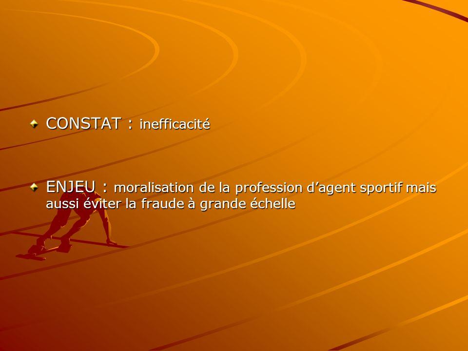 CONSTAT : inefficacité ENJEU : moralisation de la profession dagent sportif mais aussi éviter la fraude à grande échelle