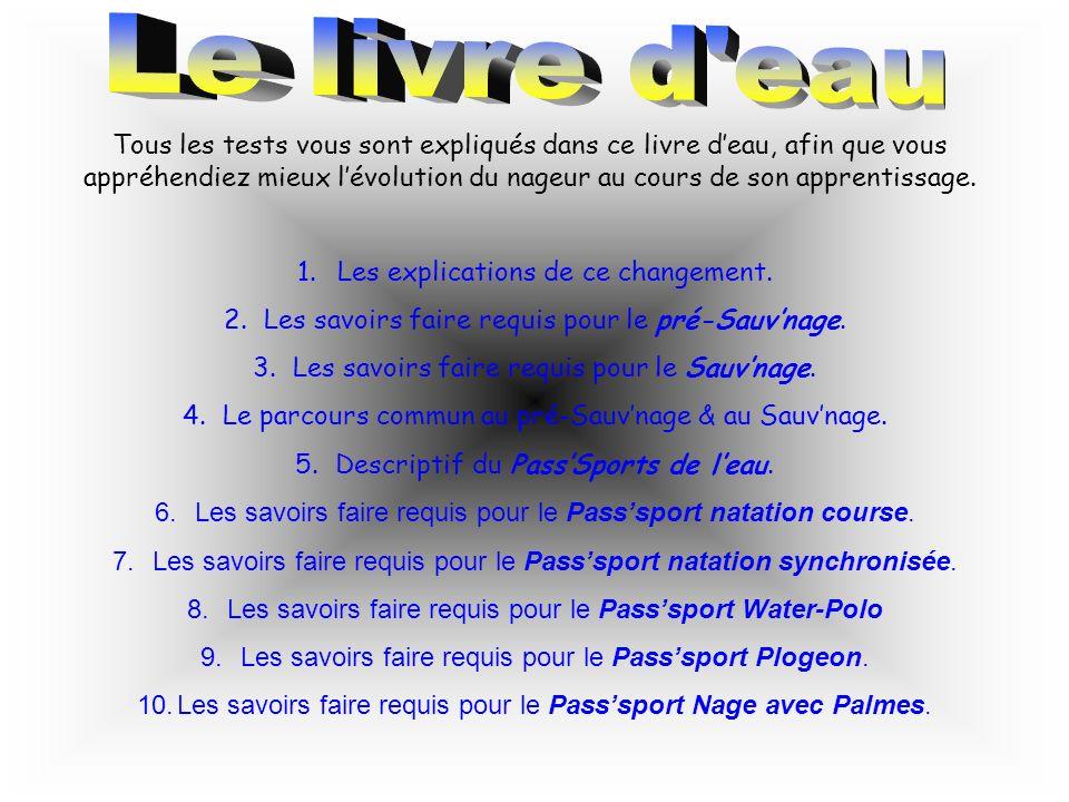 Les nouveaux tests ENF (Ecoles de Natation Française) ont été créés afin duniformiser lapprentissage de la natation en France.