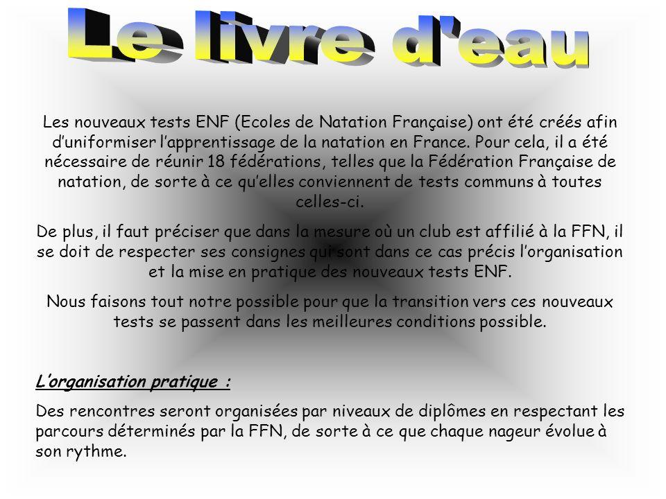 Les nouveaux tests ENF (Ecoles de Natation Française) ont été créés afin duniformiser lapprentissage de la natation en France. Pour cela, il a été néc