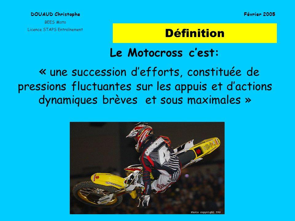 Définition DOUAUD Christophe BEES Moto Licence STAPS Entraînement Février 2005 Le Motocross cest: « une succession defforts, constituée de pressions f