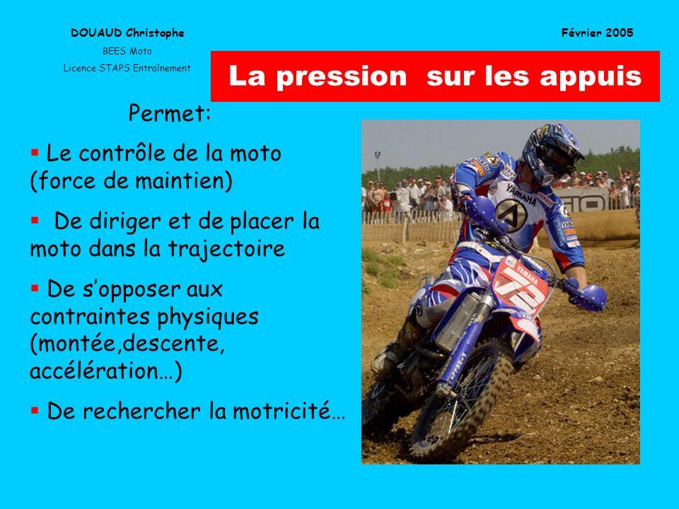 La pression sur les appuis Le contrôle de la moto (force de maintien) De diriger et de placer la moto dans la trajectoire De sopposer aux contraintes