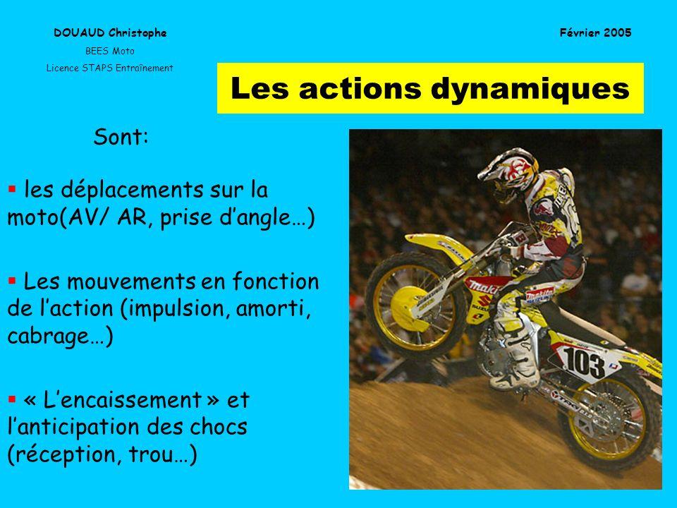 Les actions dynamiques les déplacements sur la moto(AV/ AR, prise dangle…) Les mouvements en fonction de laction (impulsion, amorti, cabrage…) « Lenca